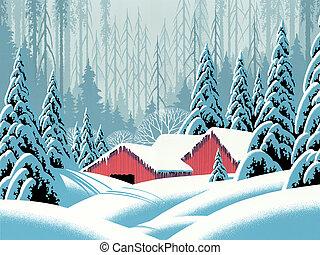 雪 場面, 納屋
