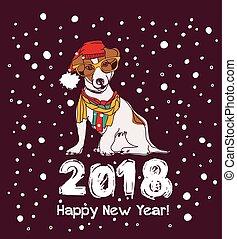 雪, 新年おめでとう, カード, 2018, dog.