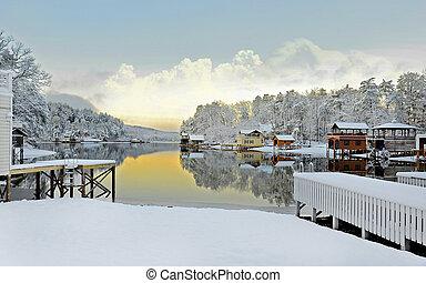 雪, 湖, 冬
