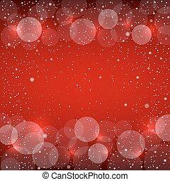 雪, bokeh, クリスマス, 背景, 赤