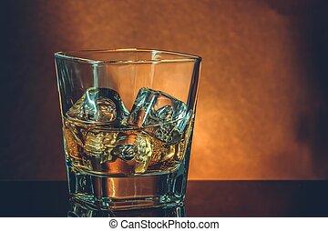 雰囲気, ガラス, 反射, ウイスキー, 暖かい, 黒, テーブル