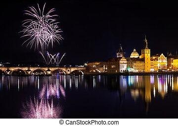 雰囲気, チェコ, プラハ, republick, 年, 新しい