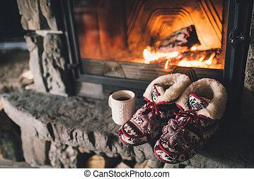 雰囲気, 概念, 冬, 弛緩, カップ, drink., 型, 暖かい, 炉辺, 快適である, 暑い, シャレー, ...
