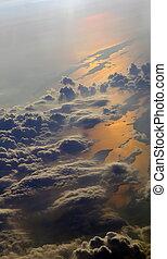 雲, の上, 反射, 海, 地球, 光景