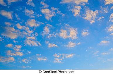 雲, ふんわりしている, 空, 日没, かなり, オレンジ