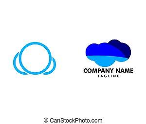 雲, アイコン, テンプレート, デザイン, セット, ロゴ, ベクトル