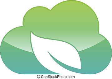 雲, アイコン, ベクトル, 葉, スタイル, 技術, 網, 現代