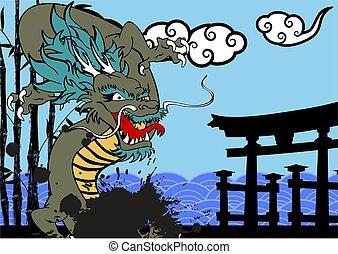 雲, アジア人, 背景, ドラゴン