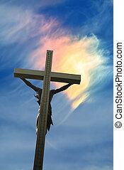 雲, キリスト, 上に, 日当たりが良い, イエス・キリスト, 像, 独特