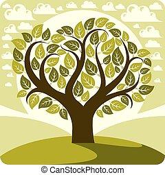 雲, グラフィック, 上昇, イメージ, eco, ビュー。, すばらしい, 象徴的, 芸術, ベクトル, 定型, のどかな, sun., 牧草地, 田舎, 春, 木, 成長する, イラスト, 風景