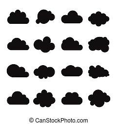 雲, コレクション, ベクトル, 形