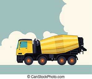 雲, コンクリート, mixer., 空, ミキサー, バックグラウンド。, 黄色, セメントトラック, 旗, レイアウト