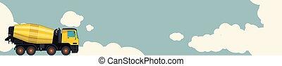 雲, コンクリート, mixer., 空, ミキサー, バックグラウンド。, 黄色, セメントトラック, 横, 旗, レイアウト