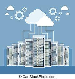 雲, サーバー, データ, hosting, コンピュータ接続, 中心