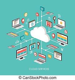 雲, サービス, 概念, 3d, 等大, infographic