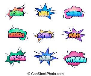 雲, スピーチ, 泡, 漫画, 星