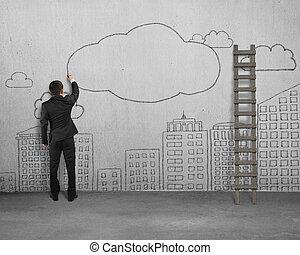 雲, スペース, 壁, コンクリート, ビジネスマン, コピー, 図画