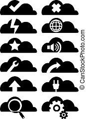雲, セット, ベクトル, アイコン, 計算, イラスト