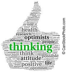 雲, タグ, 考え, ポジティブ, 概念