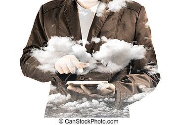 雲, タブレット, ダブル, ビジネス, モビール, 空, さらされること, 人, pc, 使うこと