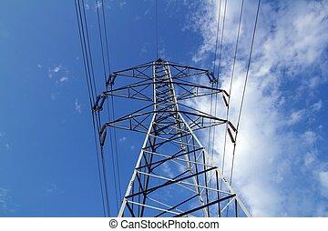 雲, タワー, 青い空, パイロット, マスト, 棒, 電気である