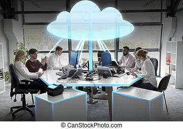 雲, チーム, ホログラム, ビジネス, 計算