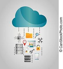 雲, データ, 流れ, 貯蔵, ファイル, 保護, 道具