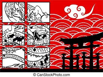 雲, ドラゴン, baboo, アジア人, 背景, japanesse