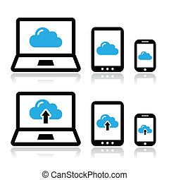 雲, ネットワーク, タブレット, ラップトップ
