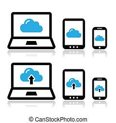 雲, ネットワーク, 上に, ラップトップ, タブレット