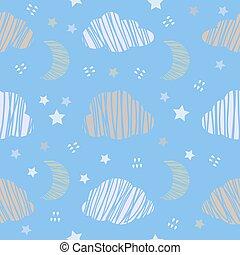 雲, パターン, 空, seamless, 月, 夜, 星