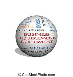 雲, ビジネス, 球, 条件, 文書, 3d, 概念, 単語