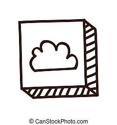 雲, ボタン, アイコン