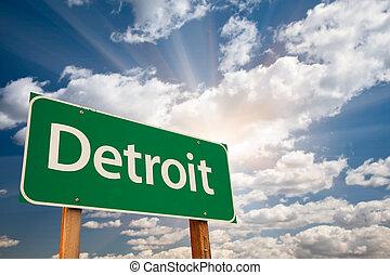 雲, 上に, デトロイト, 印, 緑, 道