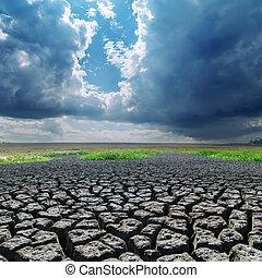 雲, 世界的である, warming., 暗い, 地球, 割れた