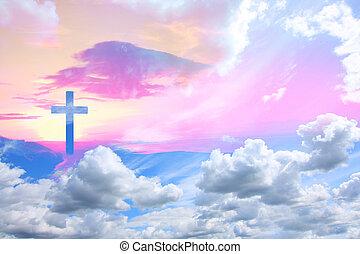 雲, 交差点, キリスト, 美しい, イエス・キリスト