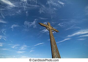 雲, 交差点, 背景, 教会, 空