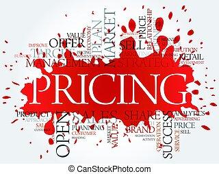 雲, 価格, 概念, 単語, ビジネス