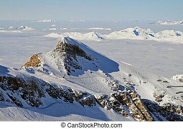 雲, 光景, 雪, 従事, 新たに, 谷, 高山