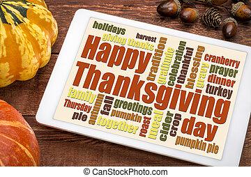 雲, 単語, 感謝祭, タブレット, 幸せ