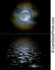 雲, 反射, ライト, 月, 水, によって, 収穫