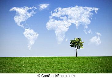 雲, 地図, 世界