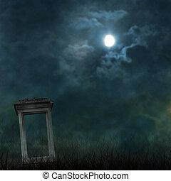 雲, 墓地, 気味悪い, ハロウィーン, 月, 暗い, 前兆である