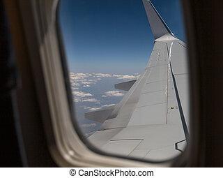 雲, 外, 窓, cabin:, 見る, 航空機, 白, 翼, 飛行機