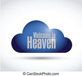 雲, 天国, イラスト, 歓迎された 印