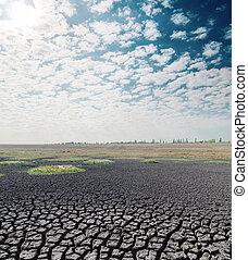 雲, 太陽, 上に, それ, 暑い, 地球, 干ばつ