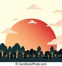 雲, 太陽, 空, 木, 自然, 風景