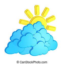 雲, 太陽, 隔離された, /, 予報, 天候, 背景, 白