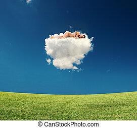 雲, 女, 若い, 睡眠
