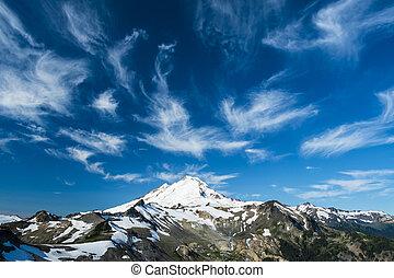雲, 山, 雪をかぶった, 高く, 下に, パン屋, 毛状突起